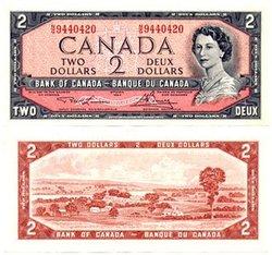 1954 - MODIFIED PORTRAIT -  1954 2-DOLLAR NOTE, LAWSON/BOUEY (AU)