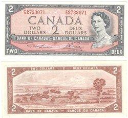 1954 - MODIFIED PORTRAIT -  1954 2-DOLLAR NOTE, LAWSON/BOUEY (EF)