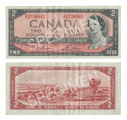 1954 - MODIFIED PORTRAIT -  1954 2-DOLLAR NOTE, LAWSON/BOUEY (F) - TEST NOTE