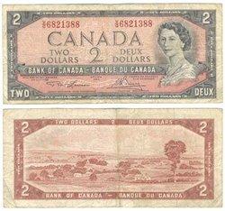 1954 - MODIFIED PORTRAIT -  1954 2-DOLLAR NOTE, LAWSON/BOUEY (F)