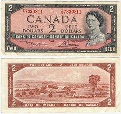 1954 - MODIFIED PORTRAIT -  1954 2-DOLLAR NOTE, LAWSON/BOUEY (VF)