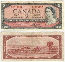 1954 - MODIFIED PORTRAIT -  1954 2-DOLLAR NOTE, LAWSON/BOUEY (VG)