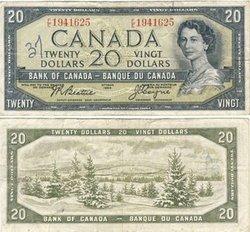 1954 - MODIFIED PORTRAIT -  1954 20-DOLLAR NOTE, BEATTIE/COYNE (G)