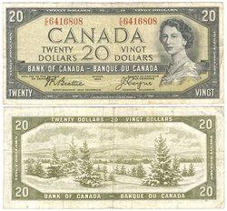 1954 - MODIFIED PORTRAIT -  1954 20-DOLLAR NOTE, BEATTIE/COYNE (VF)