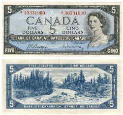 1954 - MODIFIED PORTRAIT -  1954 5-DOLLAR NOTE,  BEATTIE/RASMINSKY (EF)