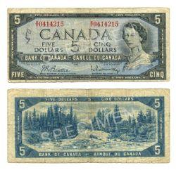 1954 - MODIFIED PORTRAIT -  1954 5-DOLLAR NOTE, BEATTIE/RASMINSKY (G)