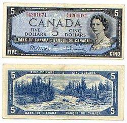 1954 - MODIFIED PORTRAIT -  1954 5-DOLLAR NOTE, BEATTIE/RASMINSKY (VF)