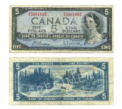 1954 - MODIFIED PORTRAIT -  1954 5-DOLLAR NOTE, BEATTIE/RASMINSKY (VG)