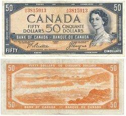1954 - MODIFIED PORTRAIT -  1954 50-DOLLAR NOTE, BEATTIE/COYNE (F)