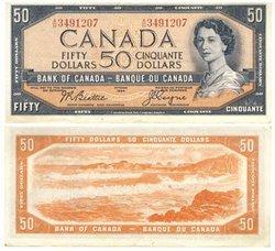 1954 - MODIFIED PORTRAIT -  1954 50-DOLLAR NOTE, BEATTIE/COYNE (VF)