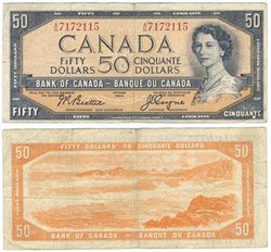 1954 - MODIFIED PORTRAIT -  1954 50-DOLLAR NOTE, BEATTIE/COYNE (VG)