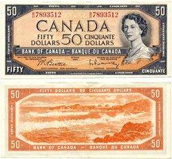 1954 - MODIFIED PORTRAIT -  1954 50-DOLLAR NOTE, BEATTIE/RASMINSKY (EF)