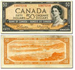 1954 - MODIFIED PORTRAIT -  1954 50-DOLLAR NOTE, BEATTIE/RASMINSKY (VF)