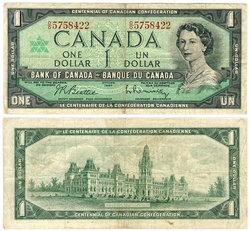 1967 -  1967 1-DOLLAR NOTE, BEATTIE/RASMINSKY (F)