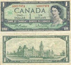 1967 -  1967 1-DOLLAR NOTE, BEATTIE/RASMINSKY (VG)