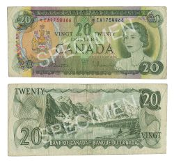 1969 -  1969 20-DOLLAR NOTE, BEATTIE/RASMINSKY (VG)