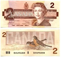 1986 -  1986 2-DOLLAR NOTE, THIESSEN/CROW (EF)