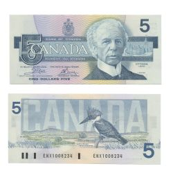 1986 -  1986 5-DOLLAR NOTE, CROW/BOUEY (UNC)