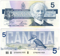1986 -  1986 5-DOLLAR NOTE, CROW/BOUEY (UNC)