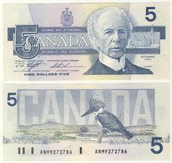 1986 -  1986 5-DOLLAR NOTE, KNIGHT/THIESSEN (CUNC)