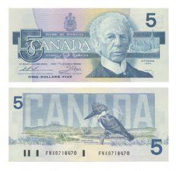 1986 -  1986 5-DOLLAR NOTE, THIESSEN/CROW (CUNC)