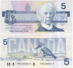 1986 -  1986 5-DOLLAR NOTE, THIESSEN/CROW (EF)