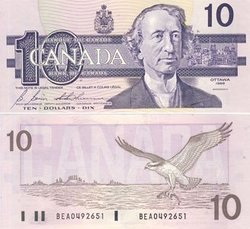 1989 -  1989 10-DOLLAR NOTE, BONIN/THIESSEN (CUNC)