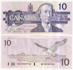 1989 -  1989 10-DOLLAR NOTE, BONIN/THIESSEN (GUNC)