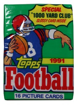 1991 FOOTBALL -  TOPPS - WAX PACK (16 CARDS)