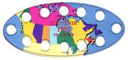 1992 COMMEMORATIVE QUARTERS -  TWELVE QUARTERS OVAL CARDBOARD STORAGE