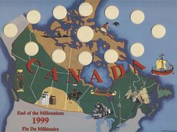 1999 COMMEMORATIVE QUARTERS -  1999 25-CENT COINS AND NUNAVUT 2 DOLLARS COIN CARDBOARD SLEEVE