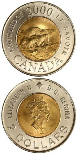 2-DOLLAR -  2000 2-DOLLAR - KNOWLEDGE - BRILLIANT UNCIRCULATED (BU) -  2000 CANADIAN COINS