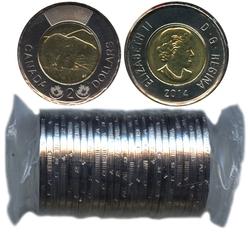 2-DOLLAR -  2014 2-DOLLAR ORIGINAL ROLL -  2014 CANADIAN COINS
