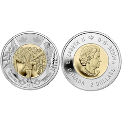 2-DOLLAR -  2014 2-DOLLAR - WAIT FOR ME, DADDY - BRILLIANT UNCIRCULATED (BU) -  2014 CANADIAN COINS