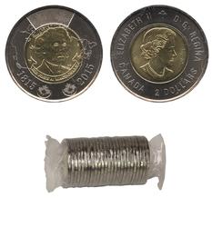 2-DOLLAR -  2015 2-DOLLAR ORIGINAL ROLL - SIR JOHN A. MACDONALD -  2015 CANADIAN COINS