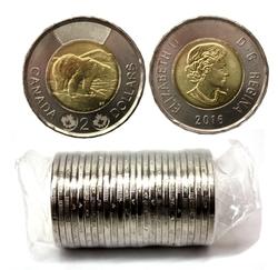 2-DOLLAR -  2016 2-DOLLAR ORIGINAL ROLL -  2016 CANADIAN COINS