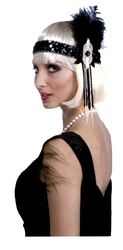 20'S -  BLACK AND SILVER SEQUIN FLAPPER HEADPIECE WITH FEATHER