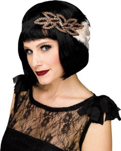 20'S -  BLACK FLAPPER HEADPIECE WITH BLACK AND WHITE FEATHERS