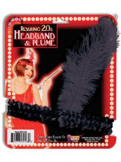 20'S -  HEADBAND AND PLUME - BLACK
