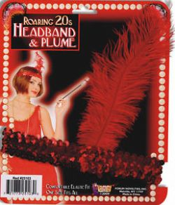 20'S -  HEADBAND AND PLUME - RED
