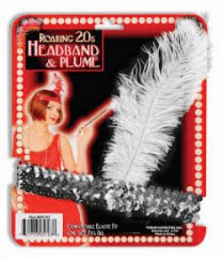 20'S -  HEADBAND AND PLUME - SILVER