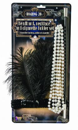 20'S -  HEADBAND, NECKLACE AND CIGARETTE HOLDER SET