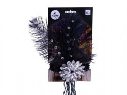 20'S -  HEADBAND WITH FEATHERS AND SEQUIN - BLACK/SILVER