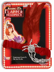 20'S -  RED FLAPPER HEADPIECE WITH SILVER PLASTIC JEWEL