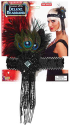 20'S -  SEQUIN FLAPPER HEADPIECE WITH PEACOCK FEATHER