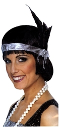 20'S -  SILVER FLAPPER HEADPIECE WITH SILVER PLASTIC JEWEL