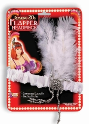 20'S -  WHITE FLAPPER HEADPIECE WITH SILVER PLASTIC JEWEL