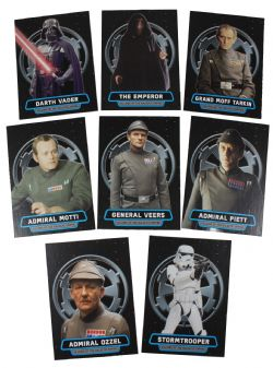 2016 STAR WARS -  TOPPS - ROGUE ONE: MILLION BRIEFING VILLAINS OF THE GALACTIC EMPIRE (8 CARDS)