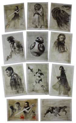 2017 STAR WARS -  TOPPS - THE LAST JEDI ILLUSTRATED SET (11 CARDS)