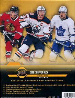 2019-20 HOCKEY -  UPPER DECK SERIES 1 STARTER BINDER (3 PACKS + 1 CARD)
